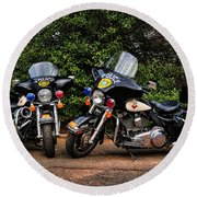 Police Motorcycles Round Beach Towel by Paul Ward
