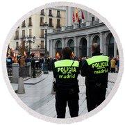 Policia Madrid Round Beach Towel
