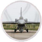 Polish F-16c Block 52 At Albacete Round Beach Towel