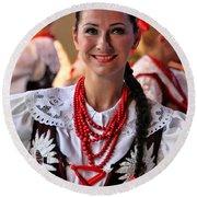 Polish Folk Dancing Girl Round Beach Towel