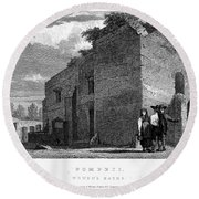Pompeii: Bathhouse, C1830 Round Beach Towel