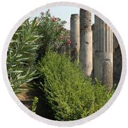 Pompeii Columns 2 Round Beach Towel