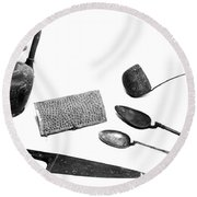 Pompeii: Kitchen Utensils Round Beach Towel