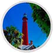 Ponce Inlet Lighthouse 1 Round Beach Towel