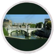 Ponte Sant'angelo In Rome Round Beach Towel