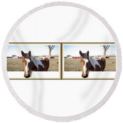 Pony Pose - Gently Cross Your Eyes And Focus On The Middle Image Round Beach Towel