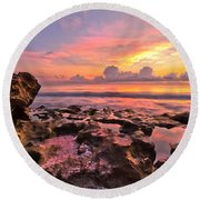 Pool Clouds Round Beach Towel