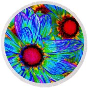 Pop Art Daisies 2 Round Beach Towel