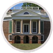 Poplar Forest From The South Lawn Round Beach Towel