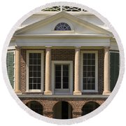 Poplar Forest South Portico Round Beach Towel
