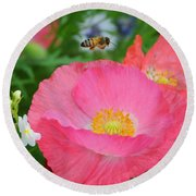 Poppies And Pollinator Round Beach Towel