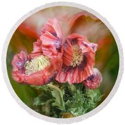 Poppies Big And Bold Round Beach Towel