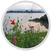 Poppies By The River Round Beach Towel