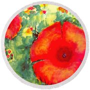 Poppies Face To The Sun Round Beach Towel