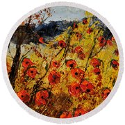 Poppies In Provence 456321 Round Beach Towel