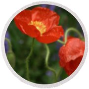 Poppies With Impressionist Effect Round Beach Towel