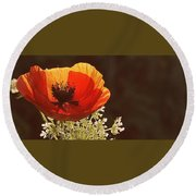 Poppy And Lace Round Beach Towel