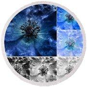 Poppy Blue - Macro Flowers Fine Art Photography Round Beach Towel