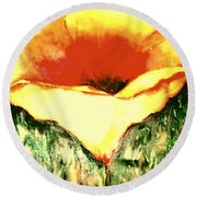 Poppy Cup Of Gold  Round Beach Towel