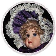 Porcelain Doll - Head And Bonnet Round Beach Towel