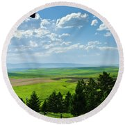 Porch View Of Wilsall Valey Round Beach Towel