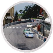 Porsches At Monte Carlo Casino Square Round Beach Towel by John Bowers