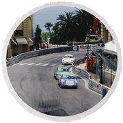 Porsches At Monte Carlo Casino Square Round Beach Towel