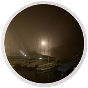 Port At Night In The Fog Round Beach Towel