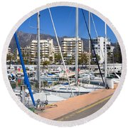 Port In Marbella Round Beach Towel