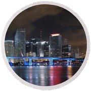 Port Of Miami Downtown Round Beach Towel