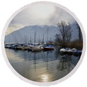 Port With Snow-capped Mountain Round Beach Towel
