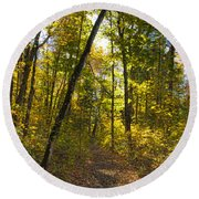 Portal Through The Woods Round Beach Towel