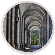 Portico From The Valley Of The Fallen Round Beach Towel by Mary Machare