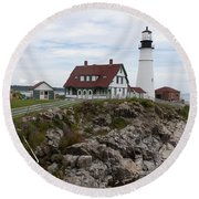 Portland Head Light Cape Elizabeth Fort Williams Maine Round Beach Towel