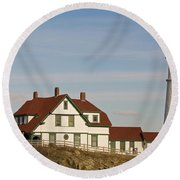 Portland Head Light Profile Round Beach Towel