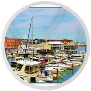 Portland Maine Harbor Round Beach Towel