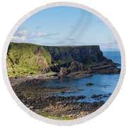 Portnaboe Bay At Giants Causeway Round Beach Towel
