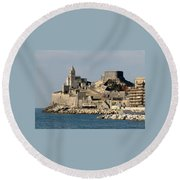 Portovenere's Church And Fortress Round Beach Towel