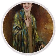 Portrait Of A Girl With A Green Shawl Round Beach Towel