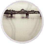 Portrait Of A London Bridge Round Beach Towel