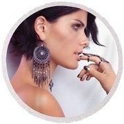 Portrait Of A Woman Wearing Jewellery Round Beach Towel
