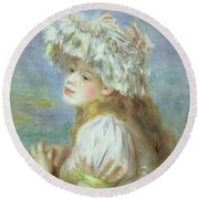 Portrait Of A Young Woman In A Lace Hat Round Beach Towel by Pierre Auguste  Renoir