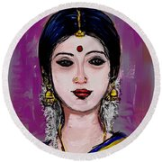 Portrait Of An Indian Woman Round Beach Towel