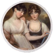 Portrait Of Anne And Maria Russell Round Beach Towel
