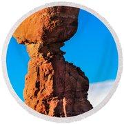 Portrait Of Balance Rock Round Beach Towel