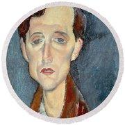 Portrait Of Franz Hellens Round Beach Towel