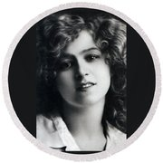 Portrait Of Gabriella Ray Round Beach Towel
