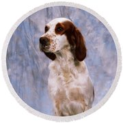 Portrait Of Irish Red And White Setter Round Beach Towel