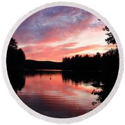 Portrait Of Lake Waukewan Round Beach Towel