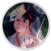 Portrait Of Lise Round Beach Towel
